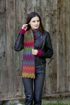 Kit tricot laine Lang Yarns Jawoll Magic dégradé, écharpe point de chevrons