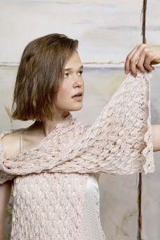 Kit tricot coton Lotus, écharpe point ajouré