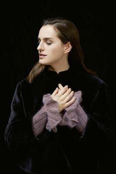 Fiche explicative, kit tricot manchettes à volants, laine mohair fancy de Lang Yarns