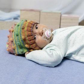 Kit tricot, modèle bonnet layette, laine Lang Yarns Mille Colori Baby