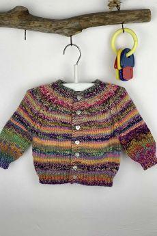 Modèle gilet taille 6 mois en topdown, laine Lang Yarns Mille Colori Baby