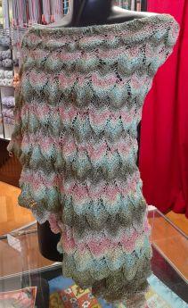 Châle tricoté main, coton Linello coloris 1066.0052