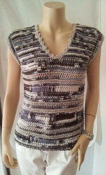 Débardeur tricoté à la main, modèle 1680 de la marque Gédifra