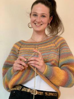 Modèle pull à tricoter en Topdown Laine Lang Yarns Malou Light Color