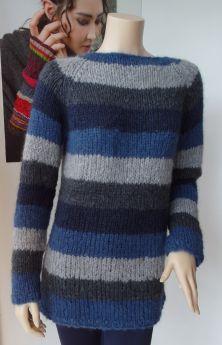 Pull tricoté main, laine Odéon de Lang Yarns