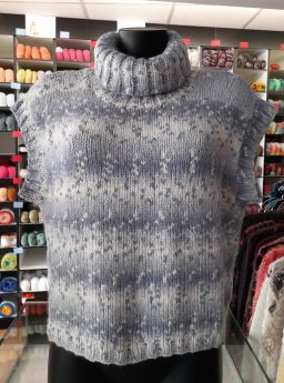 Pull sans manches tricoté main, laine snowflake Lang Yarns