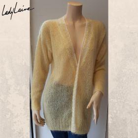 Gilet tricoté à la main, laine Mohair Luxe de Lang Yarns