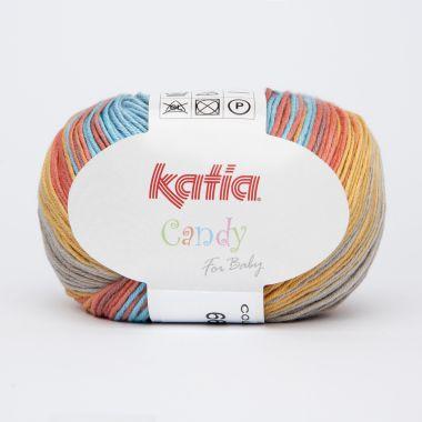 Laine Katia Candy - Couleur- 666 dégradé bleu turquoise, orange et beige