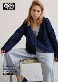 modèle lang yarns wooladdicts happy soul, gilet point mousse , coton sunshine.